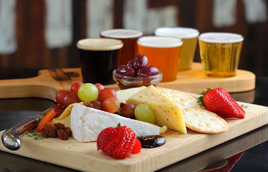 beer paddle tasting platter
